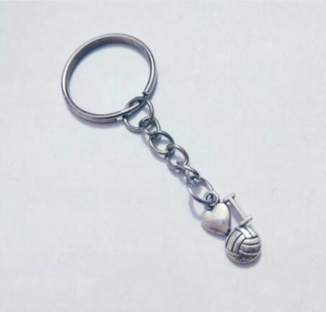 Me encanta el baloncesto, fútbol, voleibol encanto llavero clave cadena anillo de llaves del coche bolsa clave anillo bolso llavero