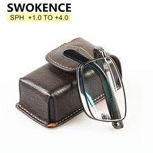 SWOKENCE Gehobenen Marke Legierung Rahmen Anti müdigkeit Harz Linsen Folding Lesebrille Frauen Männer Faltbare Presbyopie Brillen R116