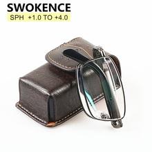 SWOKENCE ekskluzywne marki oprawki ze stopu anti-zmęczenie żywiczne soczewki składane okulary do czytania kobiety mężczyźni składane okulary starczowzroczne R116 tanie tanio 3 1cm Unisex Antyrefleksyjną 5 2cm Jasne Cr-39 +100 +150 +200 +250 +300 +350 +400 +1 0 +1 5 +2 0 +2 5 +3 0 +3 5 +4 0 Full Frame