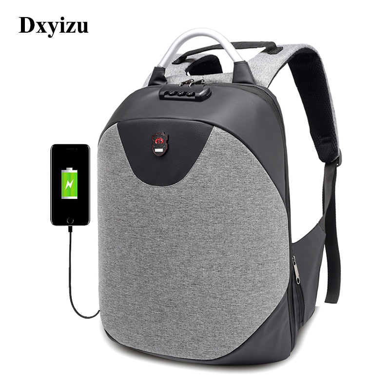 Dxyizu New School 15.6 Laptop Backpack Men Waterproof Mochila Casual Travel Business Usb Back Pack Male Bag Anti-theft Gift