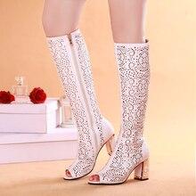 Bisi goro verano botas mujeres sexy rodilla botas peep toe zapatos de tacón alto de las mujeres blancas botas damas botas de cuero de tacón grueso de las mujeres