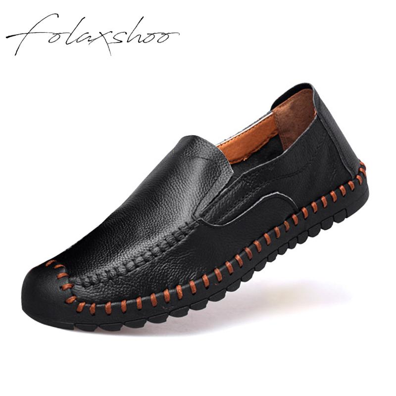 Folaxshoo Mens Shoes Fashion Handmade Soft Breathable Moccasins Flats Leather Casual Driving Oxfords Shoes Slip-on Men Loafers xx breathable men casual soft leather shoes car driving slip on flats leisure fashion tassel moccasins men loafers zapatillas
