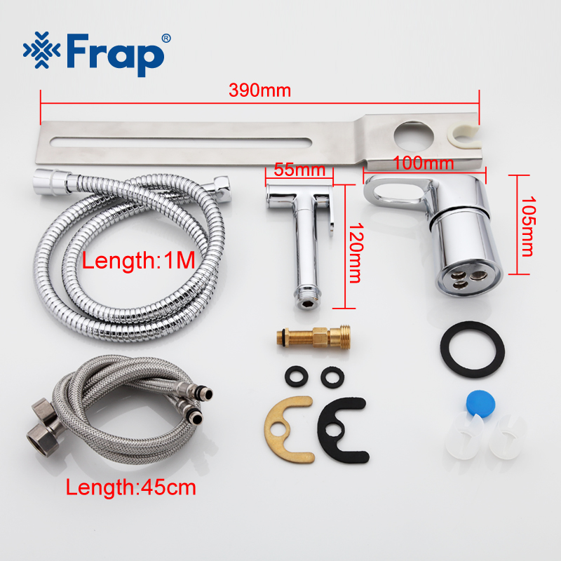 Frap 1set new Solid Brass Chrome Handheld Bidet Toilet Portable Bidet Shower Set With Hot and Cold Water Bidet Mixer F1250-2