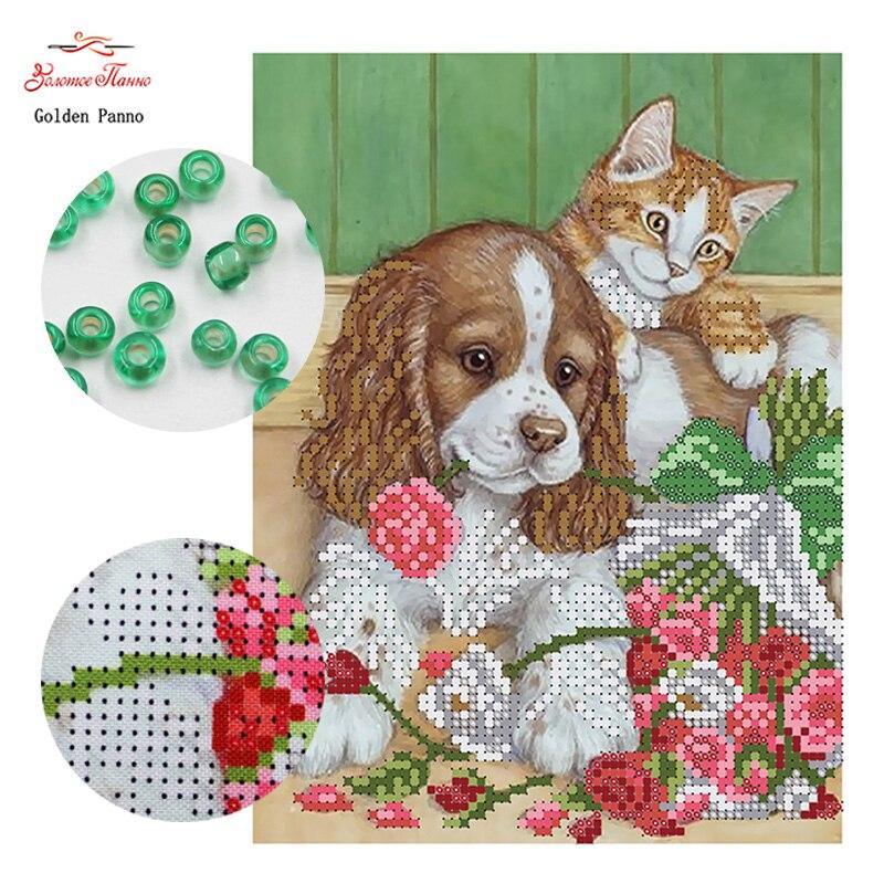 Golden Panno, Needlework DIY Conjuntos de ponto Cruz Para kits de Bordados talão de gato e cão padrão Contados Cross-Costura 0413