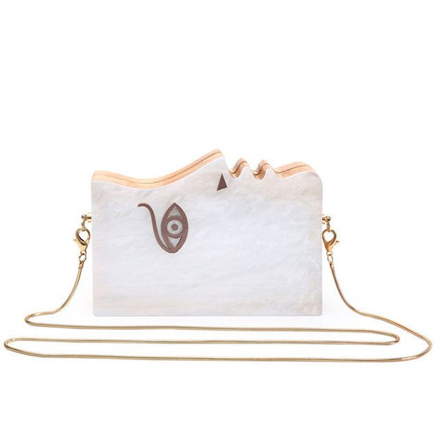 New Fashion Designer Human Face Hard Box Evening Bags Pearl Acrylic Wood Patchwork Clutch Purse Chain Shoulder Bag Banquet Li674