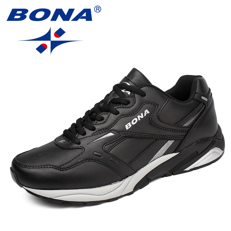 BONA New Classics Style Men Running Shoes Lace Up Men Athletic Shoes Cow Split PU Men Outdoor Jogging Sneakers Free Shipping