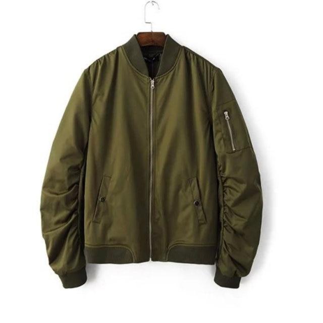 2017 Spring Autumn Mens Solid Flight Army Green Bomber Jacket Men's Rib Sleeve Zipper Short Air Force Baseball Coats Clothing