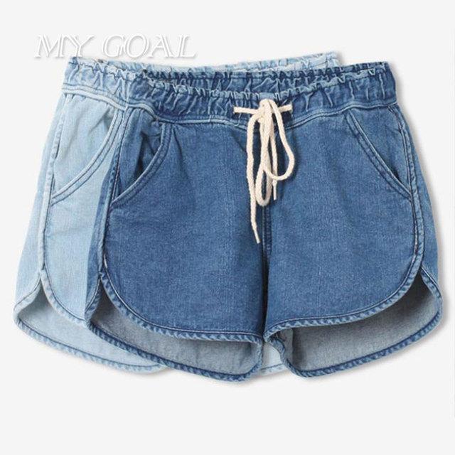 Nueva Llegada de La Marca de Moda de Verano Las Mujeres Pantalones Cortos de Algodón Sueltos Cortos femeninos Delgados de Cintura Alta Pantalones Cortos de Mezclilla Ocasional 2 colores