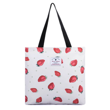 Foldable Shopping Bags Canvas Shoulder Bag Cotton Daily Use Handbags for Women Female with Strawberry Printed Reusable Tote Bag