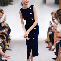Pencil Milan High Quality 2019 Summer New Women'S Fashion Party Casual Sexy Workplace Vintage Elegant Chic Navy Blue Vest Dress