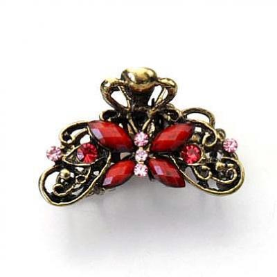 1 Piece Free Shipping Hot selling hair accessories vintage metal resin butterfly hair claw clip E010