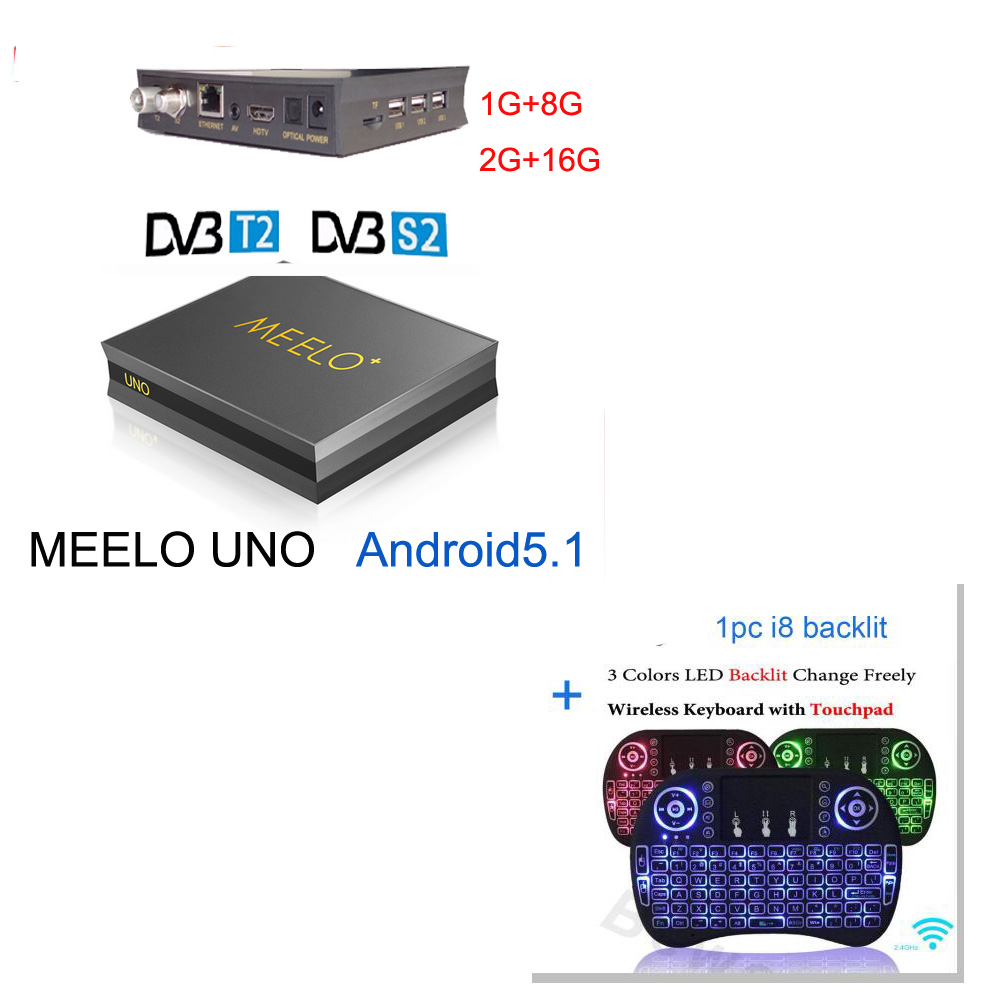 dvb t2 android meelo uno2 2G/16G 1G/8G vs kii pro Android 5.1 TV Box DVB T2+DVB S2 Amlogic S905 Quad Core 4K DVB S2 T2