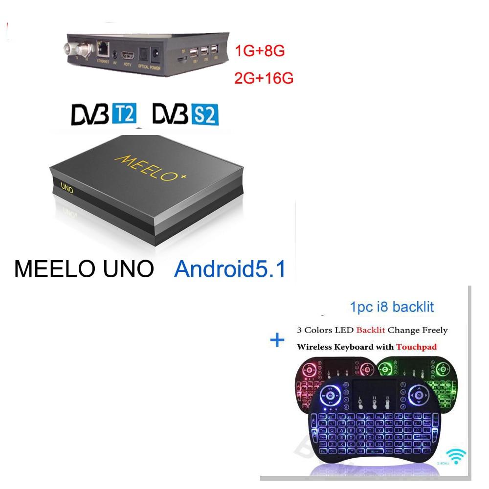 meelo uno2 2G/16G UNO2 1G/8G Android 5.1.1 TV Box DVB-T2+DVB-S2 Amlogic S905 Quad Core vs kii pro k1 plus 4K kodi DVB S2 T2 k1 dvb t2 kodi tv box android 4 4 2 amlogic s805 quad core 1g 8g wifi