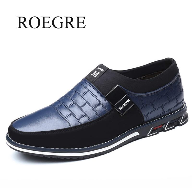 ROEGRE 2019 Big Size 38-46 Oxfords Leather Men Casual