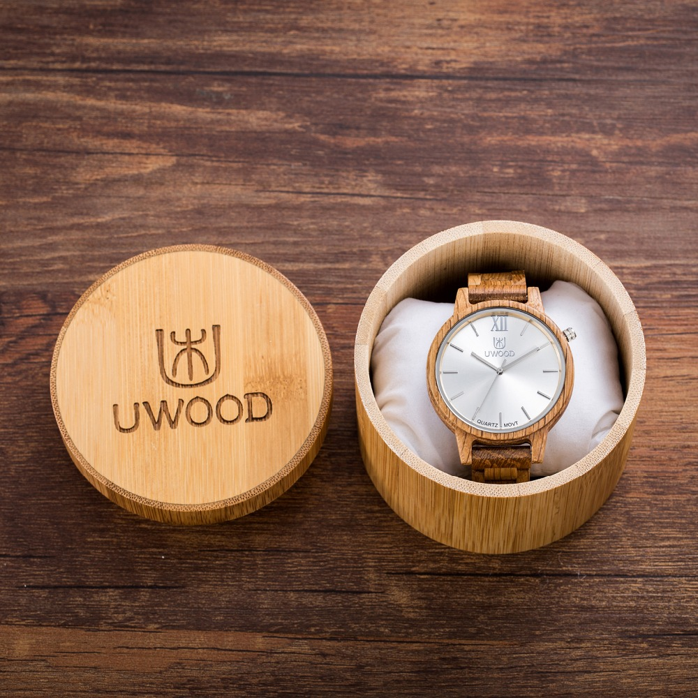 UWOOD New Arrival Oak Wood Watches Mens Business WristWatches Top Brand Luxury Wooden Quartz Watches Analog with Bamboo Gift Box bobo bird brand new sun glasses men square wood oversized zebra wood sunglasses women with wooden box oculos 2017