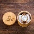 Uwood nueva llegada de madera de roble de relojes para hombre relojes de primeras marcas de lujo de negocios relojes analógicos de cuarzo de madera con caja de regalo de bambú