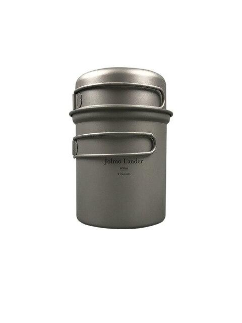 Jolmo Lander olla de titanio al aire libre con bol de titanio juego de utensilios de cocina de Camping