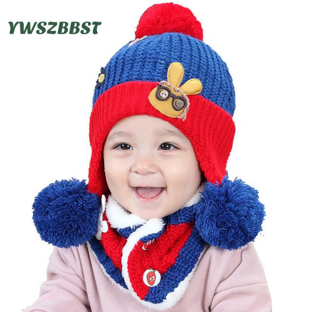 d1986df611f New Children Baby Hats Scarf Bonnet Hat Baby Fashion Knitted Autumn Winter  Warm Caps Boy Girl