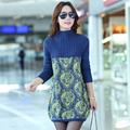Women Sweaters Pullovers Dress 2016 New Winter Warm Turtleneck Woman Sweater Floral Print Knitwear Tunics Poncho Plus Size 3XL
