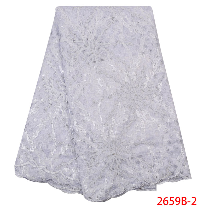 2019 High Quality Nigerian Laces Fabrics Latest French Tulle Lace African Lace Fabric With Sequins Beads For Wedding KS2659B-2