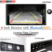 Auto European License plate Camera for parking HD Car monitor 1024*600 MP5/MP4 Video System with bluetooth Car detector Parking