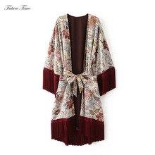 Kimono Cardigan mujer borla gasa blusa estampado de moda florales para mujer Vintage abrigos cinturón cintura prendas de vestir Crochet largo C1522