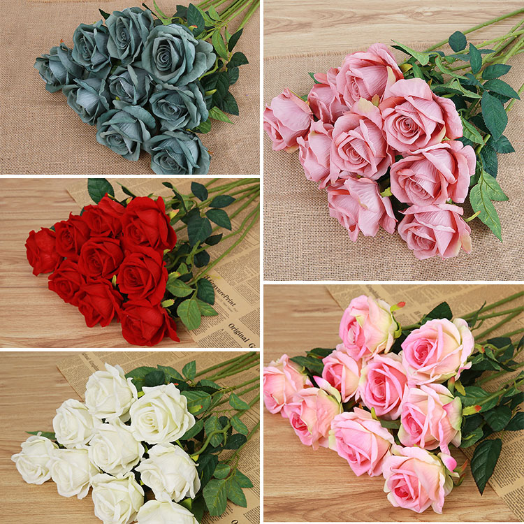 Fashion home garden single centerpiece artificial silk flowers craft fashion home garden single centerpiece artificial silk flowers craft rose decor wedding decoration flores artificiales in artificial dried flowers from mightylinksfo