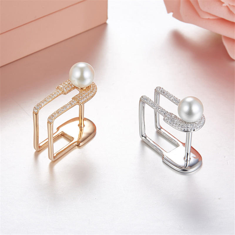 Luxury Brand Design Engagement Rings unique Square Paper clip 925 Sterling Silver Pin wedding natural Pearl rings bijoux femme