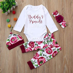 4PCS Newborn Baby Girls Clothes Long Sleeve Romper Tops Pants Headband Hat Outfit Set Mameluco Bebes Cute Floral Bodysuits 827
