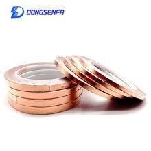 Fita de alumínio de cobre dongsenfa, fita adesiva de 20 metros condutora única para proteção de calor emi 5mm 6mm 8mm 10mm
