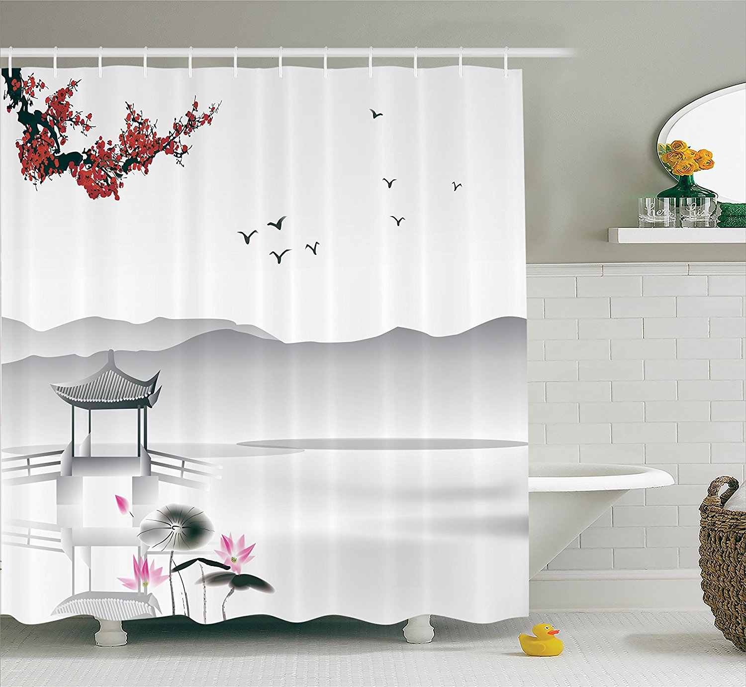 Japanese Asian Style Garden with Bird and Small Pavilion Over the Lake Lotus Waterlily, Polyester Fabric Bathroom Shower Curtain