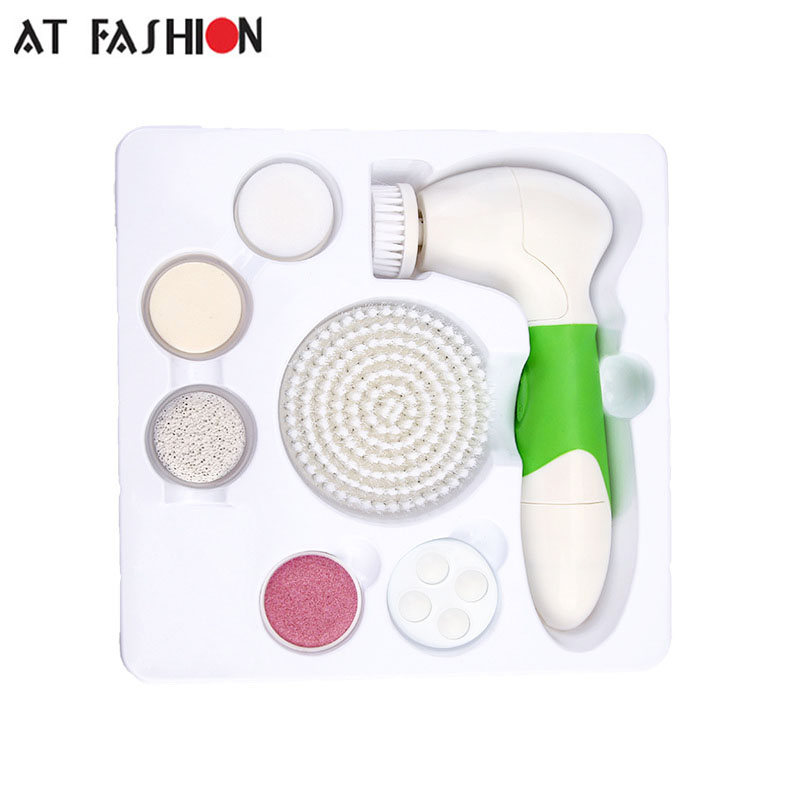 At Fashion 7 In 1 facial cleansing brush ultrasonic face skin Care rechargeable facial cleanser electric face Massager new 5in1 face brush cleansing multifunction electric ultrasonic wash spa skin care massage face brushes facial cleanser tool