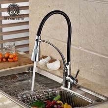 Хром палуба крепление одной ручкой Смеситель для кухни одно отверстие с горячей и холодной воды смесители