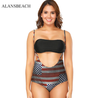 ALANSBEACH Large Size Bikini Set Women Sexy Swimwear Big High Waist Bikini Bathing Sport Suit Offer