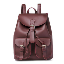 NEW 2019 Vintage Women Leather Backpack Female Drawstring School Bag Black Rucksack Brand Shoulder Bags
