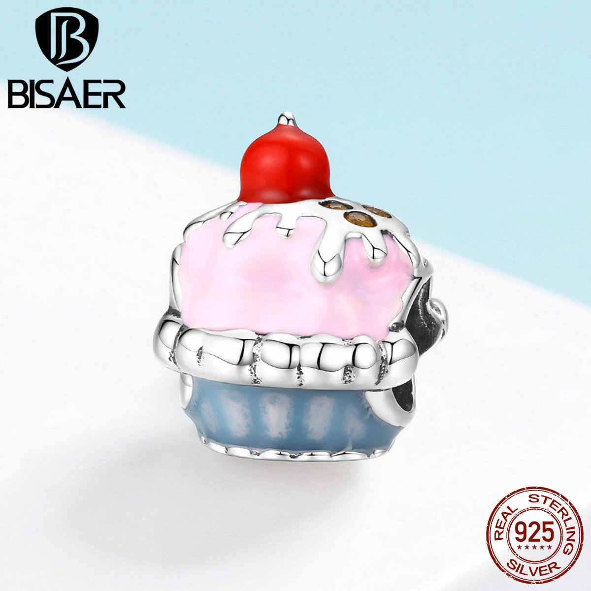 Bisaer 925 prata esterlina copo bolo esmalte bolo de aniversário contas ajuste feminino encantos pulseiras 925 jóias de prata ecc1084
