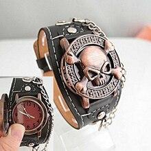 Unisex Steampunk Skull Cover Wristbands Gothic Punk Biker Quartz Wrist Watch