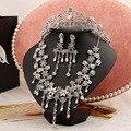 Горячие продажи трех частей свадебных ювелирных ожерелье длинный участок женщин Горный Хрусталь, Ювелирные Наборы, Свадебные украшения, свадебные платья