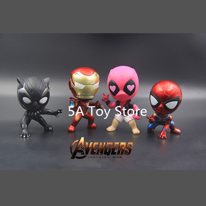Avenger Comics Super Heroes Iron Man Spiderman Black Panther Deadpool Bobble Head Dolls PVC Action Figure Collectible Model Toys image