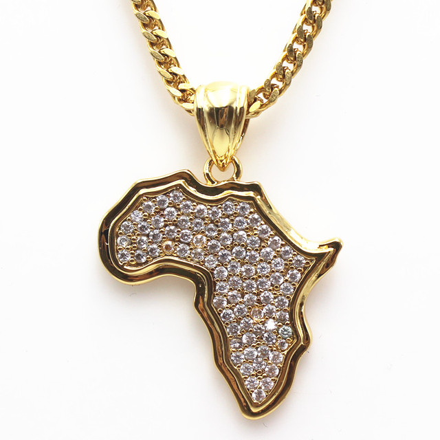 Wholesale african map necklaces pendants golden men women iced out wholesale african map necklaces pendants golden men women iced out charm africa chains hip hop jewelry aloadofball Images