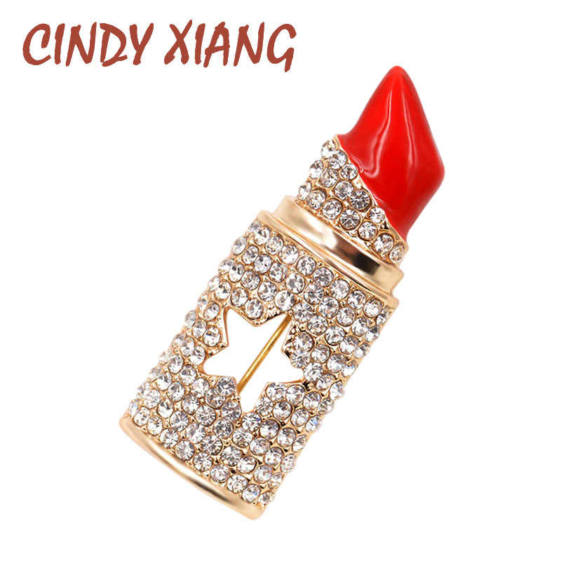 CINDY XIANG Rhinestone Lipstick Brooches for Women Sexy Fashion Jewelry Elegant Statement Brooch Pins 2017 Summer Design Brooch
