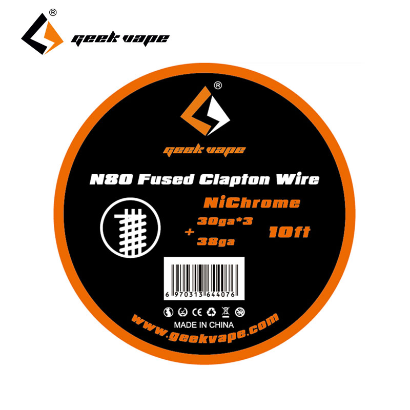Original 10ft GeekVape <font><b>N80</b></font> Fused Clapton <font><b>Wire</b></font>(30ga*3+38ga) Electronic Cigarette Vape DIY Coil Short Heat Up Time for RTA / RDA image