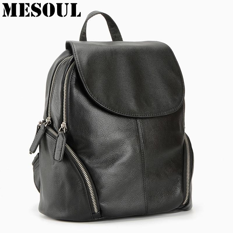 100% originální kožený batoh dámské tašky módní batoh notebook taška dvojitý zip cestovní batoh dámské Pocket Girl Schoolbag  t