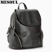 100% Genuine Leather Backpack Women Bags Fashion Knapsack Laptop Bag Double Zipper Travel Backpack Ladies Pocket Girl Schoolbag