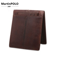 Brand 2019 Vintage Crazy Horse Leather Men Wallet Genuine Leather Short Money Clip Casual Small Thin Purse for male Man Bag 2007