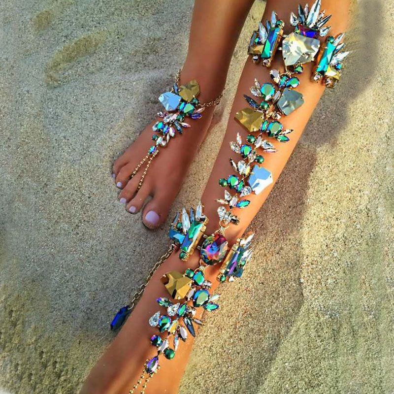 Best lady Boho Hot Cheap Sexy Leg Chain Ankle Bracelets Sandals Beach Foot Jewelry Summer Luxury Wedding Crystal Anklets 4483 17km bohemian wave anklets for women vintage multi layer bead anklet leg bracelet sandals boho diy summer charm jewelry
