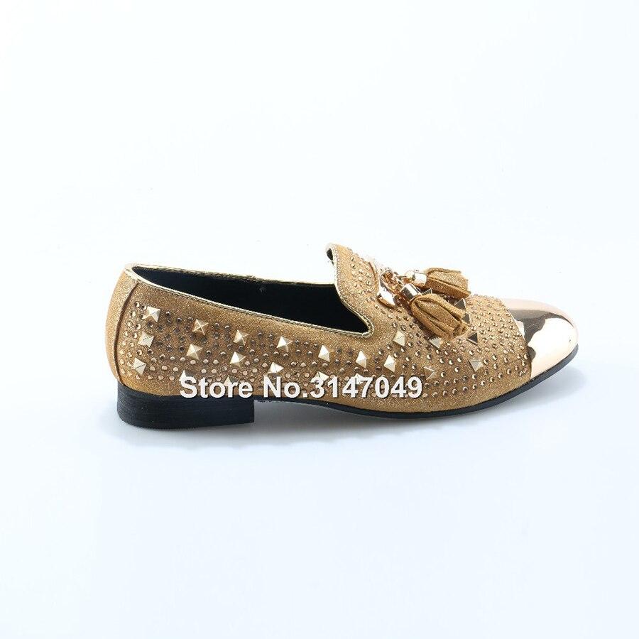 OKHOTCN/мужские золотистые туфли лодочки; большие размеры; желтые замшевые лоферы; Мокасины без шнуровки; мужские туфли лодочки для курения; св... - 5