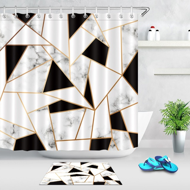 Abstract Stripes Geometric Shower Curtains Bathroom Curtain Black And White Marble Texture Waterproof Fabric For Bathtub Decor