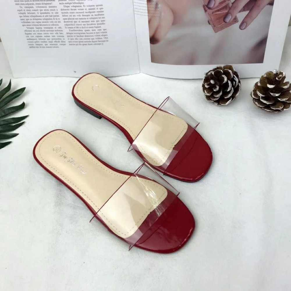 ... Transparent Women Black and White Slippers Open Toe Slides Summer Shoes  Flattie Plus Size 45 44 ... 121a1be5e1d4