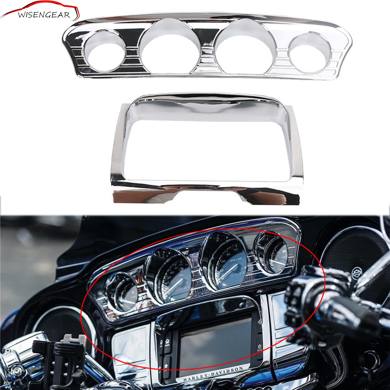 WISENGEAR Motorcycle Dashboard Instrument Tri Line Stereo Trim Cover For Harley Touring Electra Street Tri Glide 2014 - 2017 C/5 mai spectrum mp110 laser marking instrument cast line instrument line level instrument whole sale retail